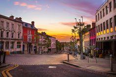 Omagh, Ireland at sunrise Republic Of Ireland, Emerald Isle, Ireland Travel, Landscape Photographers, Northern Ireland, Hiking Trails, Sunrise, Beautiful Places, Castle