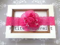 Hot Pink Baby headband Shabby Baby Flower by PetitePeppermint