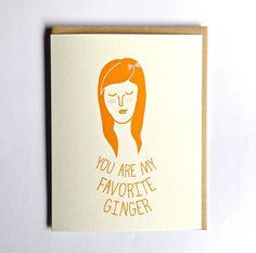 Ginger greeting card, handmade, red head, hand drawn greeting card