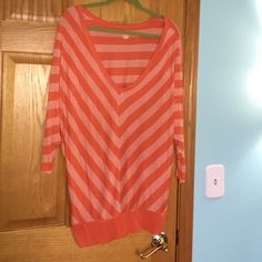 a.n.a shirt Striped orange and white shirt. In perfect condition! Very comfy a.n.a Tops