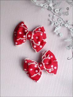 Christmas red white polka dots hair clip. Christmas gift.  on Etsy, $31.85 HKD