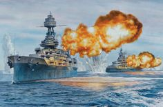 USS Texas and USS Arkansas bombard Cherbourge on 25 June 1944