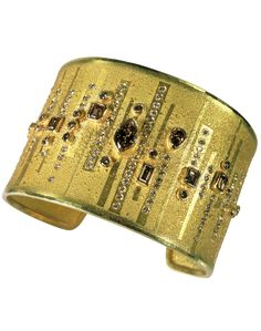 Peter Schmid cuff bracelet--silver and gold set with champagne and fantasy brown diamonds