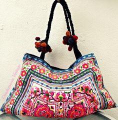 VTG ETHNIC EMBROIDERED hobo Hand Bag HMONG 70s boho hippie POM POMS thai shopper   eBay