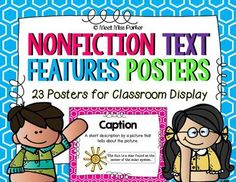Nonfiction Text Features Posters - Common Core from Meet Miss Parker on TeachersNotebook.com -  (25 pages)  - Nonfiction Text Features Posters for Classroom Display - 23 Posters Teacher Portfolio, Nonfiction Text Features, Poster Display, Classroom Displays, Clip Art, Posters, Teaching, Activities, Education