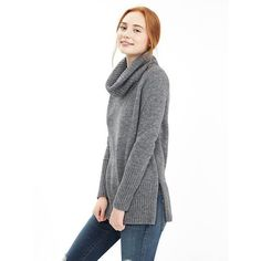 Banana Republic Womens Side Zip Long Turtleneck Size XS - Light grey... (120 CAD) ❤ liked on Polyvore featuring banana republic