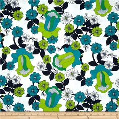 Auntie's Attic Floral Bloom Canvas Green from @fabricdotcom  Designed by Studio RK for Kaufman Fabrics, this 6.6 ounce cotton canvas fabric is medium weight and perfect for window treatments such as curtains, draperies and valances. Create tote bags, aprons, bed skirts, duvet covers, pillow shams, toss pillows and upholstering cornices, headboards and other home décor accents. Colors include citrine, teal, navy, green and white.