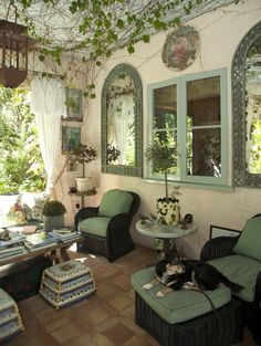 Garden Room. What a perfect place to relax with your pup or other friends :) or by yourself. Peaceful retreat. Home of Penelope Bianchi, McCormick Interiors. Photo by Mark Lohman