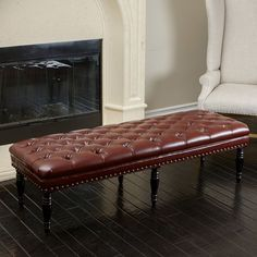 Clive Tufted Leather Bench Ottoman by Christopher Knight Home #ChristopherKnightHome #Ottomans