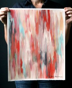 16x20 Abstract Ikat-inspired Painting on Unstretched Canvas. Red, Pink, Coral, Blue, Gray and Creamy White