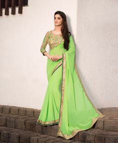 Green Georgette Party Wear Saree 78982