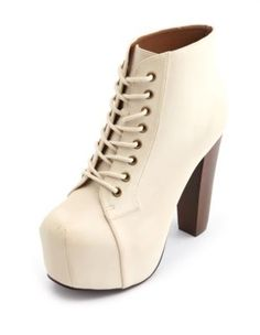 high heeled lace-up platform booties