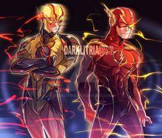 Injustice 2 Flash and Reverse by DarkLitria on DeviantArt Flash Comics, Marvel Dc Comics, Marvel Vs, Flash Art, The Flash, Injustice 2 Flash, Dc Speedsters, Chibi, Eobard Thawne