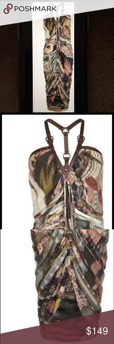 All Saints Silk Printed Bird Harness Dress 8 This is an All Saints silk harness dress. Size 8. It has 2 ties in the front. More like a cover up. Made of 100% silk. Brown harness straps with a pheasant and quail print. All Saints Dresses Maxi
