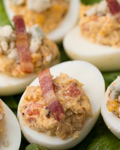 Cobb Salad Deviled Eggs (could totally be modified to be compliant, too! Finger Food Appetizers, Appetizer Dips, Appetizers For Party, Finger Foods, Appetizer Recipes, Cold Appetizers, Party Dips, Egg Recipes, Low Carb Recipes