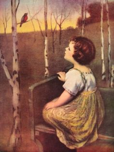 Memories of this art print in my childhood home: Spring song. Little blind girl listening to the first robin of spring is the daughter of the artist Simon Glucklich. Vintage Pictures, Vintage Images, Vintage Prints, Vintage Art, Vintage Stuff, First Robin, Blind Girl, Spring Song, Wow Art