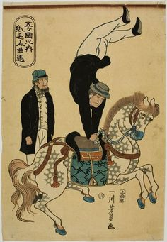 Utagawa Yoshikazu: Dutch Acrobats from the series of Five Countries (Komojin yûba), published by Jôshûya Kinzô, Late Edo period, third month of 1861 - Harvard Art Museum Harvard Art Museum, Horse Illustration, Japan Painting, Edo Period, Pottery Sculpture, Japanese Prints, Yokohama, Vintage Circus, Japan Art