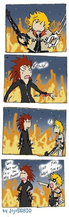 Yhea Axel, you have two but I'm sure Roxas can still kick your ass with one Keyblade. Lol