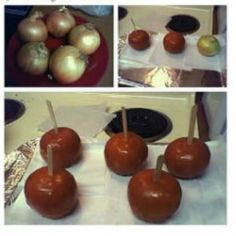 April Fool's Day Pranks! Caramel ONIONS! Hahahaha...it would take the boy a few seconds to realize.