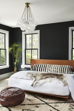 Paint Designs For Bedroom Glamorous The Calmness In This Bedroom  The Dark Paint The Headboard The Design Inspiration