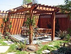 Backyard featuring xeriscaping and redwood landscaping