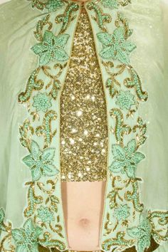 Mint green sheer embroidered cape lehenga set with sequins crop top available only at Pernia's Pop Up Shop.