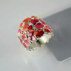 Red Printed Detail Flower Decor Ring