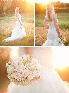 bride in meadow with chair and sunset backlight