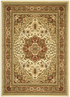 Safavieh LNH330R Lyndhurst Ivory and Rust Power Loomed Polypropylene Traditional