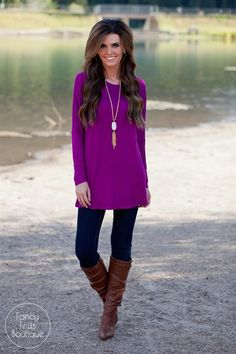 This is the perfect round neck, long sleeve tunic to go with EVERYTHING in your closet! Wear it on it's own as an adorable leggings tunic, or throw your favorite jacket or cardigan over it for a more dressed up look! It is super comfy with it's stretchy lightweight material, and is so perfect for all body types. It is a loose fit and flattering on anyone!SIZES (Runs true to size) Small 0-4Medium 4-8Large 8-12Model is wearing a size small. Rayon/Spandex