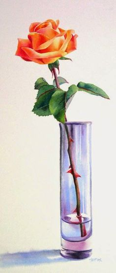 Barbara Fox - Daily Paintings: A PIECE OF SUMMER watercolor rose still life painting - Orange flower art