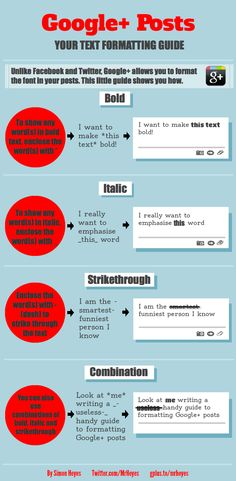 Spice up your Google+ Posts with text #formatting #infographic.