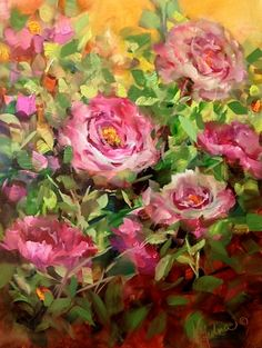 Nancy Medina Art: Day 15 ~ Memory Garden Pink Roses by Floral Artist Nancy Medina