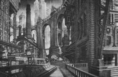 Towering BATMAN 1989 Gotham City Concept Art by Anton Furst and Nigel Phelps « Film Sketchr