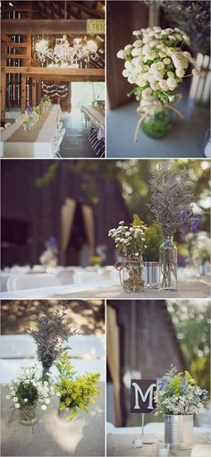 Delicious Decor: Country Wedding Ideas | Charcuterie and Chandeliers     Eclectic wild flower arrangements on some tables and lanterns on the rest