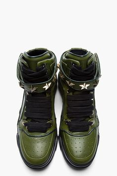 GIVENCHY Green Leather Star-Embellished High-Top Sneakers