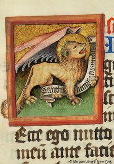 Evangelist symbol: Mark | Evangeliary | Germany, Regensburg | 1430-1440 | The Morgan Library & Museum
