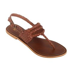 Brown, braided thong sandals by Restricted. These comfortable and practical flats can be worn with a variety of outfits, and are great for every day wear!
