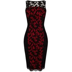 Pre-owned Karen Millen Black & Red Lace Dress ($199) ❤ liked on Polyvore featuring dresses, pre owned dresses, lace cocktail dress, lace dress, lacy dress and red dress