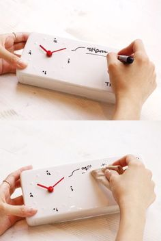 The clock is made of clay ceramic which has been fired to around 1250 C. degrees to show its true pure whiteness. The minimal and sleek design will look good in most modern homes and offices. It also comes with a black board marker, which you can use to write and re-write as much and as frequent as you like!