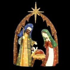 Outdoor nativity scene lighted large pre lit outside holy family outdoor nativity scene christmas holiday decor yard 6ft led lights burlap stand hah mozeypictures Choice Image