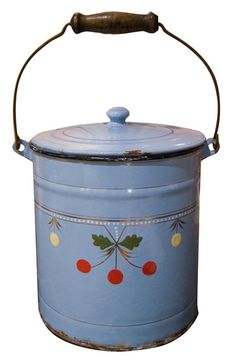 Vintage enamel pail something like this would be perfect to set on the counter and collect food scraps for composting