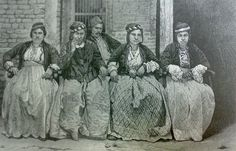 """Native Assyrian Christian women in Iraq, from an 1876 book entitled """"Babylon and Nineveh"""" by J.P. Newman."""