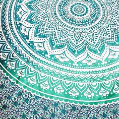 Indian Mandala Ombre Green White Bohemian Boho Large Throw Bed Sheet Wall Hanging Tapestry QUEEN/DOUBLE/KINGSIZE 90'X108' by Bohemiyanauk on Etsy https://www.etsy.com/listing/242121642/indian-mandala-ombre-green-white