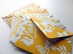 Handmade Envelopes in shades of yellow