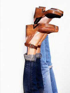 Walk This Way Clog Made from the finest Spanish leathers these wooden platform clogs feature a square toe with a contrast leather trim. Crazy Shoes, Me Too Shoes, Looks Style, Style Me, Over Boots, High Boots, Look Fashion, Womens Fashion, Gothic Fashion
