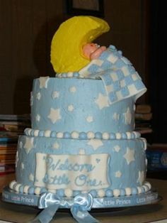 Little Boy Blue on the Moon Cake: Little Boy Blue on the Moon Cake  This cake is two 10-in cakes with homemade whipped cream frosting smoothed and between layers. Marshmallow fondant used