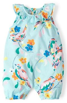 Free shipping and returns on Mini Boden Floral Print Romper (Baby Girls) at Nordstrom.com. A gently ruffled neckline provides a pretty finishing touch for a crisp cotton romper in a cheerful bird-and-flower print.