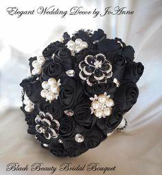 MODERN BLACK BOUQUET Black and Silver by Elegantweddingdecor