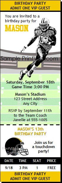 Steelers Colored Football Party Ticket Invitation 2